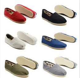 Wholesale Loafers For Men - 2016 Women and Men Canvas Casual Shoes canvas Flats loafers casual single shoes solid flat sneakers for women
