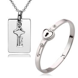 Wholesale Gold Lock Necklace - New Style 18k white gold plated lock and key pendant necklace bracelet jewelry set