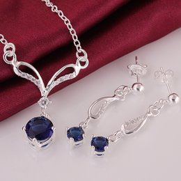 Wholesale Sterling Silver Sets Quality Gift - High Quality 925 Sterling Silver Blue Zircon Jewelry AAA Crystal Stone Necklace+Earrings Jewelry set