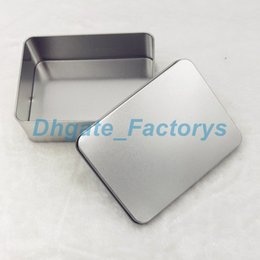 Wholesale storage tin box candy - 100PCS 12cm *9cm *4cm Tin Container Storage Box Metal rectangle for beads business card candy herbs Case