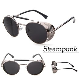 Wholesale Geek Glasses Wholesale - Wholesale-2015 Mens Sunglasses Brand Designer Steampunk Goggles Vintage Geek Hipster Round Sun Glasses For Men Oculos De Sol Masculino