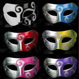 Wholesale Eye Mask Carnival - Classic Retro Greek Roman Soldier Mask Party Masquerade Ball Mardi Gras Facial Eye Mask Men Carnival Cosplay Decoration Gift