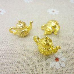 Wholesale Teapot Charm Gold - Wholesale 40 PCS Vintage Charms Teapot Pendant Gold Fit Bracelets Necklace DIY Metal Jewelry Making