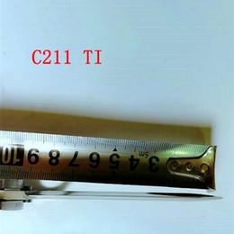 Wholesale Pocket Utility - C211TI D2  Damascus Titanium handle folding pocket knife utility camping knife XMAS gift knife for man 1pcs free shipping