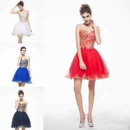 Wholesale Lace Bodice Tulle Skirt Prom Dresses - Real Tulle A Line Short Prom Homecoming Dresses Sweetheart Gold Applique Bodice And Edge Skirt Cheap Party Gown 2018