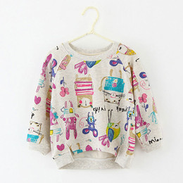 Wholesale Teen Boys T Shirt - Wholesale- Autumn Winter 100% Cotton Kids T Shirt Printing Graffiti Long Sleeve Baby Girls T-Shirt hoody hoodies Teen girl Clothes