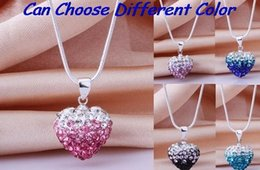 Wholesale New Necklaces Hot Fashion - hot best wedding mixed color new arrival snake mix Drop Fashion Silver Plated CZ Crystal Gradient Heart Shamballa Necklace Pendant