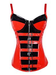 Wholesale Sexy Leather Lingerie Corset - Puls size Leather PVC Lingerie corset Sexy Women's Shapers Hot Sale Good Quality Corsets Black Red Zipper PVC corset L6527