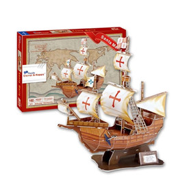 Wholesale Ocean Puzzles - Colourful Carboard Jigsaw Model 3D Puzzle Santa Maria Ocean sailing DIY Xmas Gift Toys for childrens day Learning Education