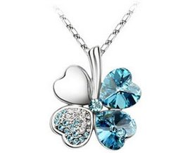 Wholesale Lucky Clover Crystal Necklace - Charming Silver Heart Leaf Rhinestone Necklace Lucky Clover Pendant Neckchain Girls Costume Decoration