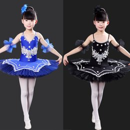 Wholesale Yellow Ballet Skirt Kids - Black Children Sequined Ballet Dance Dress Girl white Ballet Tutu Dance Costume Kids Stage Wear Swan Lake Dance Dress Gymnastics Costumes