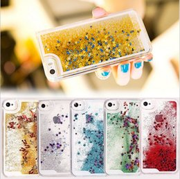Wholesale Iphone 5s Sparkle Cases - Falling stars quicksand cases Sparkle liquid untra-thin case cover for iphone se 5S 5C 6 6s 7 plus Samsung Galaxy S5 S6 s7 Edge note 4 5 s8
