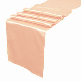 Wholesale Wedding Tables Runners - 5 pieces Peach color Satin Table Runner Wedding Cloth Runners Silk Organza Holiday Favor Party Decorations Flag -RUN