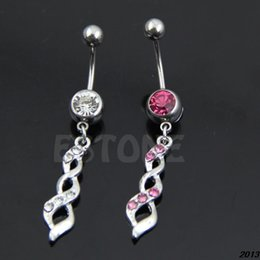 Wholesale Cross Eyebrow Ring - A24Free Shipping Crossed Helix Twist with Crystal Belly Button Navel Ring Dangle Body Piercing order<$18no track