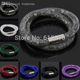 Wholesale Crystal Mesh Price - Wholesale-Factory price! Hot sale Multicolor Mesh Double Stardust Bracelet with tiny resin crystal filled magnetic Wrap Bracelet for women