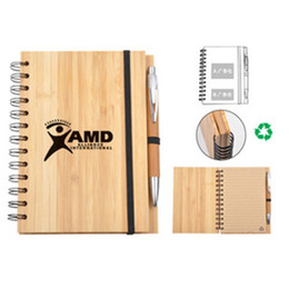 Wholesale Notepad Designs - Bamboo Cover Paper Notepad High Quality Notepad Exercise Books With Bamboon Pen Design for Sale EB-61944