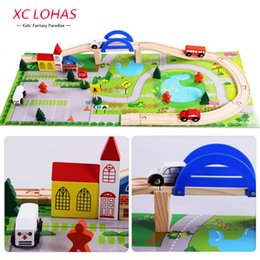 Wholesale Build Wooden Train - 40pcs  Set Diy Wooden City Train Track Building Blocks Toy Baby Assemble Traffic Diecasts & Toy Vehicles Toys Christmas Gifts