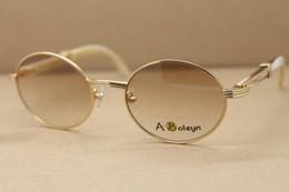 Wholesale Cat Materials - Hot 7550178 Vintage White Genuine Natural SunGlasses Larger Metal Material Glasses Frame Buffalo Horn Glasses Size:57-22-140mm