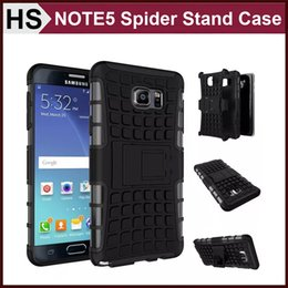 Wholesale Kickstand Double - Heavy Duty Spider Armor Case For Galaxy Note 5 NOTE5 With Stand Double Layer Hard PC+Soft TPU Hybrid Dustproof Cover DHL
