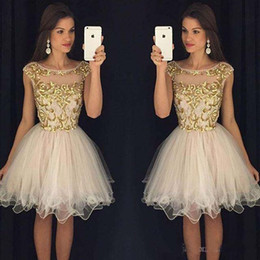 Wholesale Dress Embellishments - 2018 Party Dresses with Cap Sleeves Knee Length Homecoming Dresses Sheer Scoop Short Prom Dresses with Gold Embellishment