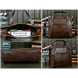 Wholesale Vintage Leather Briefcase Laptop - Men's Vintage Hit Color Leather Messenger Bag Shoulder Laptop Bag Briefcase