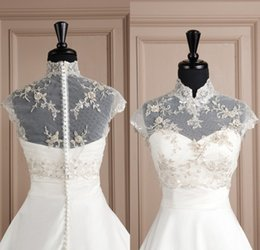 Wholesale Tulle High Neck Jacket Wedding - 2015 New Gorgeous Embroidery Bridal Jackets from Eiffelbride with Shining Beaded Pearls High Neck and Elegant Covered Button Wedding Jackets