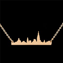 Wholesale Gold Jewellery For Men - Wholesale 10Pcs lot Hot Sell New York Skyline Choker Necklaces For Women Stainless Steel Jewelry Pendant Gold Chains Men Jewellery