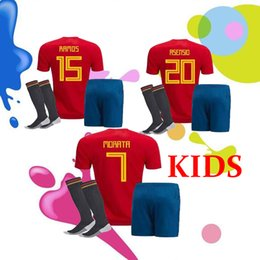 Wholesale Kids Football Uniforms Set - 2018 Spain kids kit socks Jersey MORATA ISCO PIQUE RAMOS ASENSIO Football 18 19 home soccer jerseys Sets shirt camiset ESpain uniforms kits