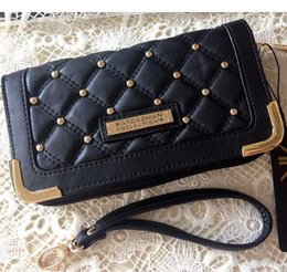 Wholesale Kim Kardashian Bags - New 2015 hot sell Kim Kardashian kollection long design rivet plaid wallet kk women's wallets clutch bag carteira feminina JIA658