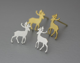 Wholesale Copper List - 10pc Rudolph, Moose, Deer Silver studs earrings - Available color as listed ( Silver, Gold ) ED087