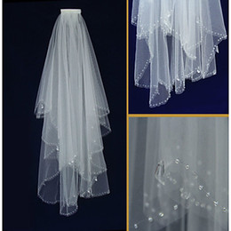Wholesale Scalloped Ivory Veil - New Popular Best Sale Free Shipping Wedding Veil Two-tier Elbow Veils Scalloped Edge 014
