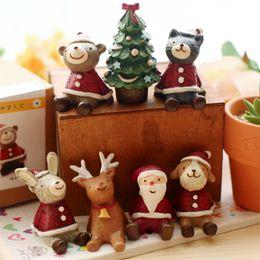 Wholesale Dog Reindeer - 7pcs lot Christmas Resin Decorations New Year Desktop Embellishment Xmas Gifts Santa Claus Tree Dog Reindeer Rabbit Cat Bear