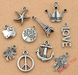 Wholesale Princess Sign - Wholesale-Mixed Tibetan Silver Anchor Princess Crown Peace Sign Tree of Life Charm Fashion Pendant Jewelry Accessories Diy Findings m047