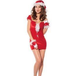 Wholesale Velvet Hat Gloves - 10sets lot Elegant Short Sleeves Christmas Nightdress Hat Gloves Hollow Velvet Santa Nightclothes X'mas Style Clothing PM7136