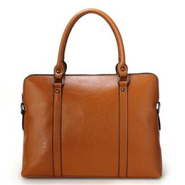 Wholesale Ladies Laptop Tote Bags - women handbags Genuine Leather shoulder bags Fashion designer totes purses ladies leather bags female business bolsas Laptop bag