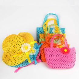 Wholesale Silk Kids Bag - Girls Kids Beach Hats Bags Flower Straw Hat Cap Tote Summer Sun Hat Children Baby Handbag Bag Suit Freeshipping