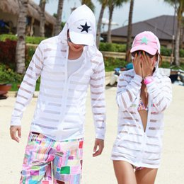 Wholesale Uv Protection Shirts - Korean couple beach resort Pure transparent thin sun protection clothing sun shirt striped UV beach clothes