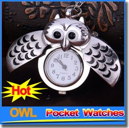 Wholesale Chain Watches For Men - Hot Sale Bronze Night Owl Necklace Pendant Quartz Steampunk Pocket Watches Chain For Men Women Ladies