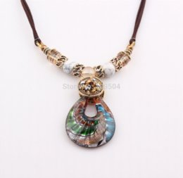 Wholesale Cheap Murano Glass Jewelry - European Hot Sale Summer Drop Murano Lampwork Glass Pendant Necklace Jewelry Wholesale ZN75 Pendants Cheap Pendants