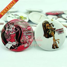 Wholesale Kids Clothing Accessories Wholesalers - 9pcs Monster High Pin Badges safety-pin decorate Round Brooch Badges 3.0cm Size Clothing Accessories Party Birthday Kids Gift