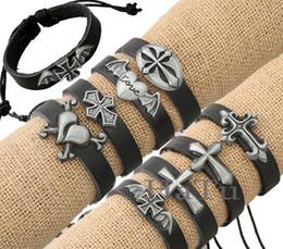 Bracelet en cuir de style européen et américain avec la croix en cuir bracelets bracelets bijoux indiens en gros à prix ? partir de fabricateur