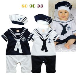Wholesale Sailor Clothing Set - Kids Navy sailors Striped baby romper sets (romper+hat) Boys Jumpsuits Outfits One Piece Clothing Baby Clothes