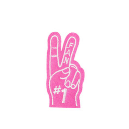 Wholesale Pink Iron Patches - 10PCS Pink Victory Sign Patches for Clothing Bags Iron on Transfer Applique Patch for Jacket Jeans Sew on Embroidery Badge DIY