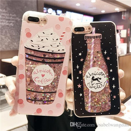 Wholesale Drinking Charms - Charm Drink Bottle Dynamic Glitter Quicksand Phone Case Shockproof Cellphone Cases for IPhone X 8 8plus 6 6s 6plus 6splus 7 7plus