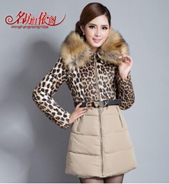 Wholesale Down Jacket Leopard - down coat Name Red Square Pavilion 2014 according to the new winter long paragraph Slim Leopard stitching down jacket women