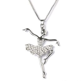 Wholesale Wholesale Ballet Necklaces - Fashion Crystal Set Jewelry Fantasy angel ballet dancer girl pendant charm necklace jewelry for women free shopping