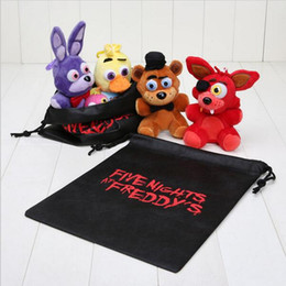 Wholesale Wholesale Teddy Bear Gift Bags - 4pcs  Set 14cm Five Nights At Freddy Fnaf Fox Bear Bonnie Toys Plush Pendants Keychains Dolls With Gift Bag