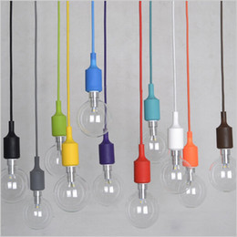 Wholesale White Pendant Light Bulb Holder - Colorful LED pendant lights 100CM wire E27 lamp holder silicone hanging lamp sconce Lamp Socket Holder Without Bulb