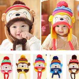 Wholesale Baby Boy Beret Hats - Freeshipping ! New Fashion Winter Warm Kid Baby Girl Boy Ear Thick Knit Beanie Cap Hat