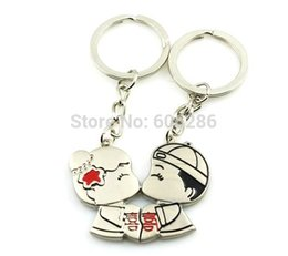 Wholesale Wholesale Bride Groom Keychain - Wholesale- 200pcs(100pairs) lot Wholesale Bride And Groom Couple Keychain,lover key chain wedding small gifts for guest